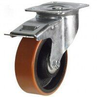 100DR4PTBJSWB 100mm Polyurethane Tyre on Cast Iron - Braked