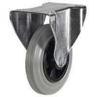 100DR8GRB 100mm Grey Rubber Tyre Plastic Centre - Fixed