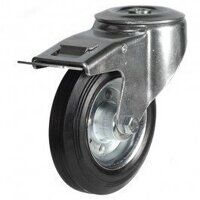 100DRBH12BSBSWB 100mm Black Rubber Steel Centre Ca...