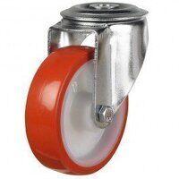 100DRBH12PNO 100mm Polyurethane Tyre Nylon Centre - Bolt Hole