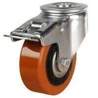 100DRBH12PTBJSWB 100mm Heavy Duty Polyurethane On Aluminium Centre Bolt Hole Braked Castor