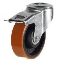 100DRBH12PTBJSWB 100mm Polyurethane Tyre on Cast Iron - Bolt Hole Braked