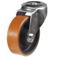 100DRBH12PTBJ 100mm Polyurethane Tyre on Cast Iron - Bolt Hole
