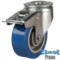 100DRHBH12EPABJSWB 100mm Heavy Duty Polyurethane On Aluminium Centre Bolt Hole Braked Castor