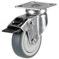 100GD4GRGSWB 100mm Synthetic Non-Marking on Plastic Centre - Swivel Braked