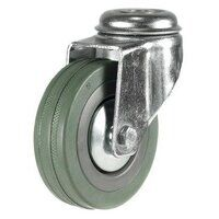 100DRLBH12GRG 100mm Grey Non-Marking Rubber Castor - Bolt Hole
