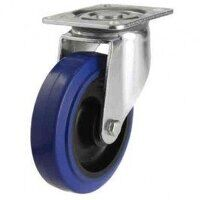 125DR4BNBLP 125mm Blue Elastic Rubber on Nylon Centre - Swivel