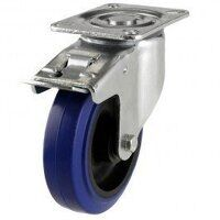 125DR4BNBSWB 125mm Blue Elastic Rubber on Nylon Centre - Braked