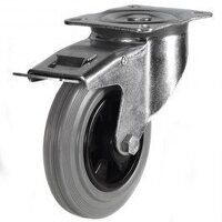 125DR4GRBSWB 125mm Grey Rubber Tyre Plastic Centre - Braked