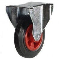 125DR8PSBLP 125mm Black Rubber on Plastic Centre Castor - Fixed