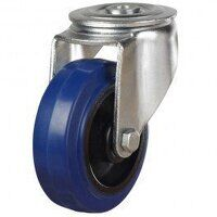 125DRBH12BNB 125mm Blue Elastic Rubber on Nylon Centre - Bolt Hole