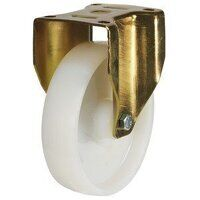 125GDH8NYBJ 125mm Nylon Fixed Castor With Heavy Pressed Steel (Gold) Bracket