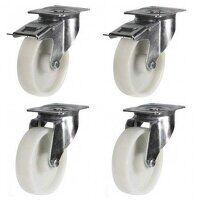 125mm White Nylon Castor Set - Swivel & Brake...