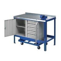 1200x750mm Mobile Workbench - Single Cupboard & 5 Drawers (1275SFCP)