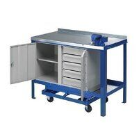 1500x600mm Mobile Workbench - Single Cupboard & 5 Drawers (1560SFCP)
