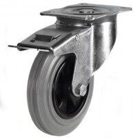 160DR4GRBSWB 160mm Grey Rubber Tyre Plastic Centre - Braked