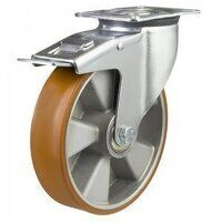 160DR4PTABJSWB 160mm Medium Duty Polyurethane On Aluminium Centre Braked Castor