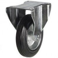 160DR8BSB 160mm Black Rubber Steel Centre Castor - Fixed