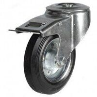 160DRBH12BSBSWB 160mm Black Rubber Steel Centre Ca...