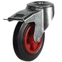 160DRBH12PSBSWB 160mm Black Rubber on Plastic Centre Castor - Bolt Hole Braked