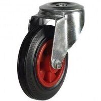 160DRBH12PSB 160mm Black Rubber on Plastic Centre Castor - Bolt Hole
