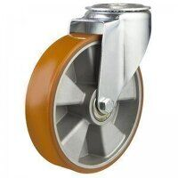 160DRBH12PTABJ 160mm Medium Duty Polyurethane On Aluminium Centre Bolt Hole Castor