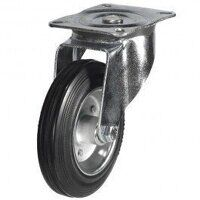 200DR4BSB 200mm Black Rubber Steel Centre Castor - Swivel