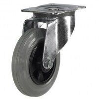 200DR4GRB 200mm Grey Rubber Tyre Plastic Centre - Swivel