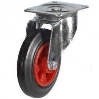 200DR4PSB 200mm Black Rubber on Plastic Centre Castor - Swivel