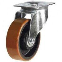 200DR4PTBJ 200mm Polyurethane Tyre on Cast Iron - Swivel