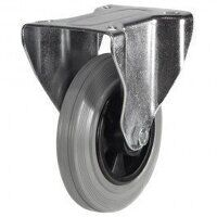 200DR8GRB 200mm Grey Rubber Tyre Plastic Centre - Fixed