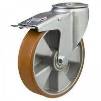 200DRBH12PTABJSWB 200mm Medium Duty Bolt Hole Braked Castor, Polyurethane Wheel on Aluminium Centre