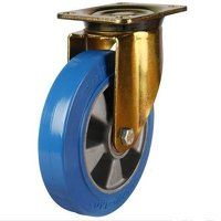 200GDH4EPABJ 200mm Heavy Duty Elastic Polyurethane On Aluminium Centre Swivel Castor (Gold Bracket)