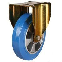 200GDH8EPABJ 200mm Heavy Duty Elastic Polyurethane On Aluminium Centre Fixed Castor (Gold Bracket)