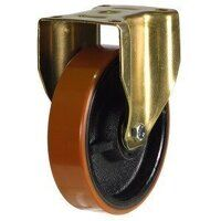 200GDH8PTBJ 200mm Heavy Duty Polyurethane On Cast Iron Centre Fixed Castor (Gold Bracket)