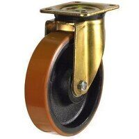 250GDH4PTBJ 250mm Heavy Duty Polyurethane On Cast Iron Centre Swivel Castor (Gold Bracket)