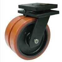 2BZXXH200PTBJ 200mm Brown Poly on Cast Iron Extra Heavy Duty Castor - Swivel 4 Bolt Hole Unbraked
