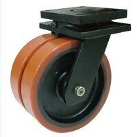 2BZXXH250PTBJ 250mm Brown Poly on Cast Iron Extra Heavy Duty Castor - Swivel 4 Bolt Hole Unbraked