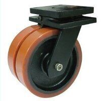 2BZXXHF200PTBJ 200mm Brown Poly on Cast Iron Heavy Duty Castor - Fixed 4 Bolt Hole Unbraked