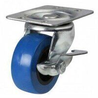 50AG4BPVCBK 50mm Blue Elastic Poly with Plastic Centre Castor - Swivel Braked