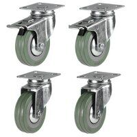 50mm Grey Non-Marking Rubber Castor Set - Swivel &...