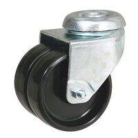 2BZD50GRBH10 50mm Grey Rubber Tyre Twin Wheel Castor - Single Bolt Hole Unbraked