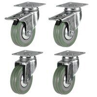 75mm Grey Non-Marking Rubber Castor Set - Swivel & Braked