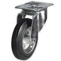 80DR4BSB 80mm Black Rubber Steel Centre Castor - Swivel