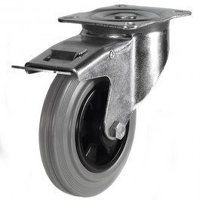 80DR4GRBSWB 80mm Grey Rubber Tyre Plastic Centre - Braked