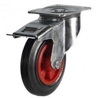 80DR4PSBSWB 80mm Black Rubber on Plastic Centre Castor - Swivel Braked