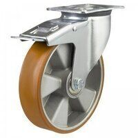 80DR4PTABJSWB 80mm Medium Duty Polyurethane On Aluminium Centre Braked Castor