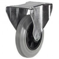 80DR8GRB 80mm Grey Rubber Tyre Plastic Centre - Fixed