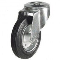 80DRBH12BSB 80mm Black Rubber Steel Centre Castor - Bolt Hole