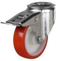 80DRBH12PNOSWB 80mm Polyurethane Tyre Nylon Centre - Bolt Hole Braked